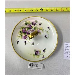 """Nippon 1920s Handled Sandwich Tray With A Handpainted Flower Pattern, 8"""" Diameter, Morimurn Brothers"""