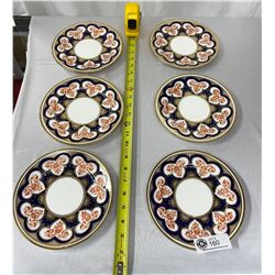 Antique Shelly/Foley Turkish Guilded Imari Side Plates Reg.no 3931, 6 Plates Very Good Condition