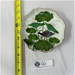 Vintage Japanese Ko Kutani Porcelain Handpainted Plate Enamel Bird And Lotus Leaves, Excellent Condi