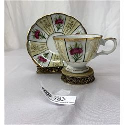 Vintage Japanese Tea Cup And Saucer With Handpainted Flowers