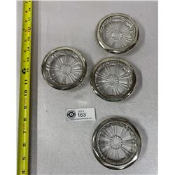 Nice Set Of 4 Silver Plate Glass Coasters