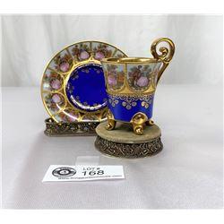 Antique DW Porcelain Demitasse - Wertocrbeit Karlsbader Germany Webertarbeit Guilded in 24k Gold And