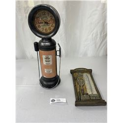 Classic Cars Gas Pump Table Top Clock Working And A Fishing Themed Thermometer, Works
