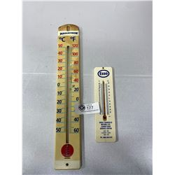 Marathon And Esso Plastic Thermometers Both In Working Condition