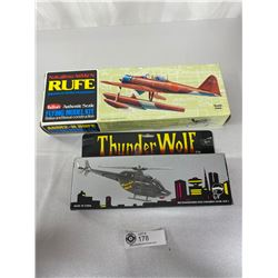 Vintage Battery Operated Thunder Wolf Bell 206 B Helicopter And New Japanese WW2 Model Float Plane