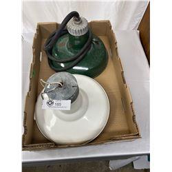 "2 Vintage Barn Lights With Porcelain Enamel, One Green, One White, 12"" Diameter"