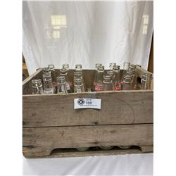 Nice Vintage Pop Crate With Bottles, Mission Pop, Calgary Pop, Etc