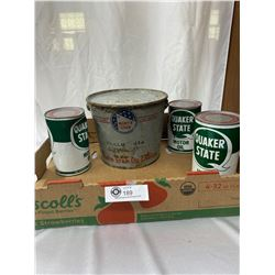 1950s North Star 10LB Grease Pail With Handle And 3 Quaker State Oil Cans Full