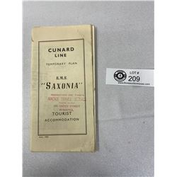 Vintage 1954 Cunard Line, Tourist Accommodation, R.M.S. Saxonia