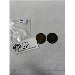 2 1835 PEI Tokens/Coins