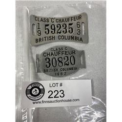 2 Vintage BC Chauffeur Badges 1962/63