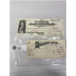 2 Vintage Bank Cheques 1880s