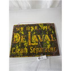 1940s De Laval Cream Seperator Tin Sign On Wood, 12x16