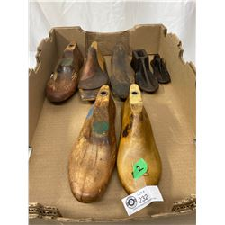 5 Assorted Vintage Wood Shoe Molds And Two Vintage Cast Iron Cobbler Shoe Molds