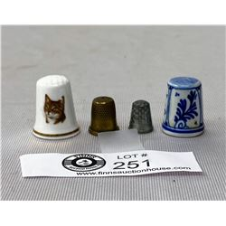 4 Old Thimbles Including A Signed Delft One