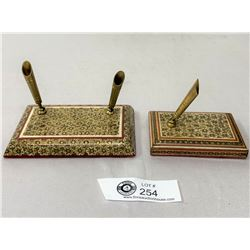 2 Persian Micro Mosaic Pen Stands
