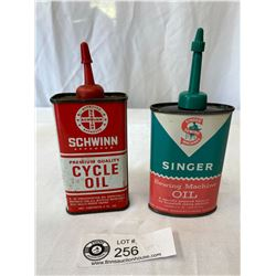 Vintage Schwinn Cycle Oil 4 oz Tin and Singer Sewing Machine 3oz Tin