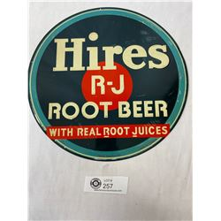"Vintage 1940's Hires R-J Rootbeer 12"" Round Embossed Sign. Wax Paper Stains, but Great Condition"