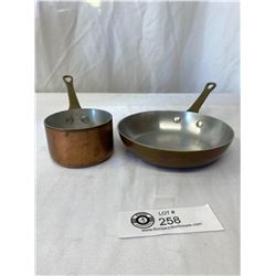 Small Vintage Copper Sauce Pan and Frying Pan.Brass Handles, Great Kitchen Décor!