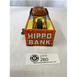 "1960's Tin Litho Hippo Coin Bank Key Wind up. 6.25"" Lx 2.5/8""w WORKS"