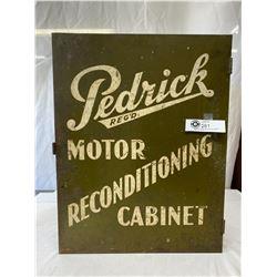 "Antique Pedrick Motor Reconditioning Metal Cabinet 18"" x 14"" x 5.25"" Has Mounting Tabs and Door Clas"