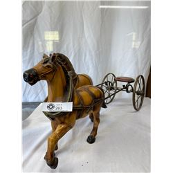 "Nice Decorative Horse And Buggy With Extra Horse 29""x14"" Shows Some Wear"