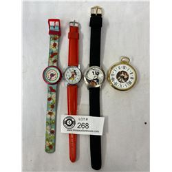 2 Mickey Mouse And 1 Flik Flak Watch And Pepsi Pocket Watch