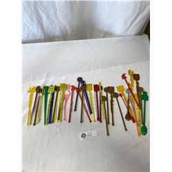 Swizzle Sticks (Many From Vegas) And Bag Of Pinbacks