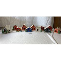 Set Of 11 Christmas Village Houses And Lights