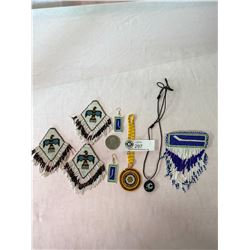 Box Of Canucks Jewellery, Pat Quinn Token And Beaded Items