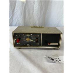 Bulova Clock Radio, Model 130 And Wooden Clock