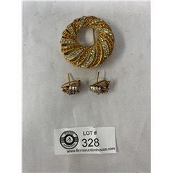 Vintage Signed Rhinestone Brooch And Earrings