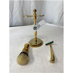 Vintage Brass Shaving Stand With Razor And Brush