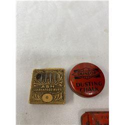 1930s Full Schrader Valve Insides Advertising Tin, Dunlop Dusting Chalk Minature Tin And Ash Burs De