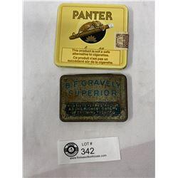 1930s B.F. Gravely Superior Tobacco Pocket Tin And Panter Cigar Tin (Holland)