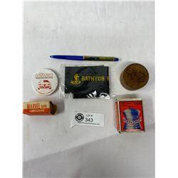 Vintage Collectible Lot - Intl Truck Floaty Pen, NAMAC Pinback, Bathtub Race Ribbon, Caps, Pellets A