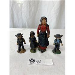 Antique Hubley Cast Iron Amish Figures - Original Paint