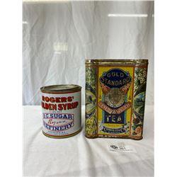 Vintage Gold Standard Winnipeg Tea Tin Plus A Rogers Golden Syrup Tin