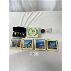 Vintage Vancouver Collectible Lot, Glass Case, Coaster, And Bottles