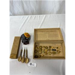 Vintage Box With Military Buttons, Wooden Darts And Ash Tray