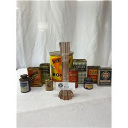 Nice Vintage Collectible Tin Lot, Honey, Spices, Etc