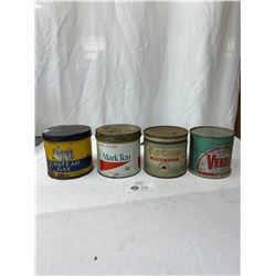 Lot Of 3 Vintage Tobacco Tins Plus An Oil Tin Cut In Half With Lid