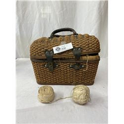 Nice Early Woven Purse Filled With Vintage Buttons