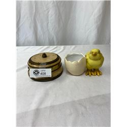 Vintage Timer Plus A Chick And Eggshell Dish, Timer Needs Work
