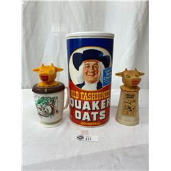 Vintage Moo Cow Creamers Plus A Quaker Oats Container