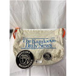 Vintage Kamloops Daily News Newspaper Bag Plus Two Mercury Marauder Sew On Patches