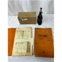 Vintage Microscope In Box Plus 2 Vintage Cash Books With Reciepts