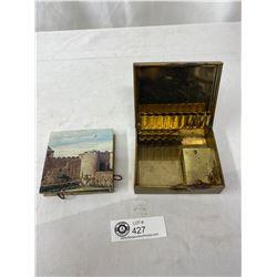 Vintage Cigarette Music Box Plus Decorative Match Case