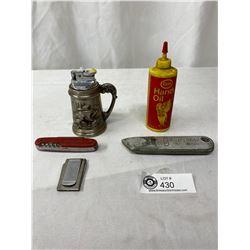Misc Collectible Lot Esso Bottle, Lighter, Knifes, Etc