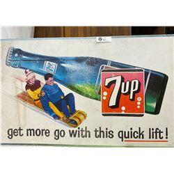 1963 Cardboard 7-Up Advertisment 33.5x20.5